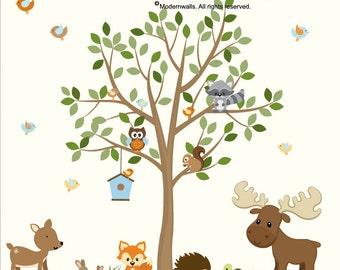 Forest Animals Decal, Nursery Decal, Moose, Bunny, Dear, Hedgehog, Squirrel, Owl Decal, Fox, Forest Decal Set-e51