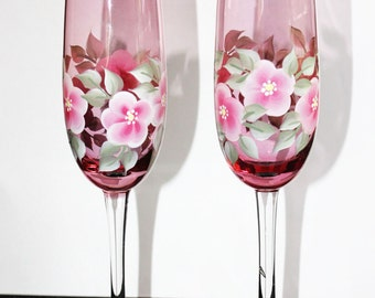 Hand Painted Champagne Glasses, Pink Flowered