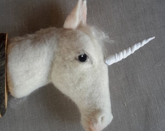 one of a kind needlefelted mid seize unicorn mount style faux taxidermy by feltfactory
