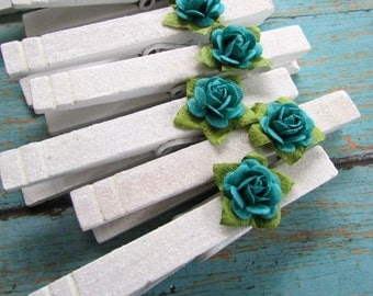 White Glitter Paper Flower Clothespins, Shabby Style, Cottage Chic, Teal Paper Flowers, Decorative Accents, Photo Clips, Photo Clothespins