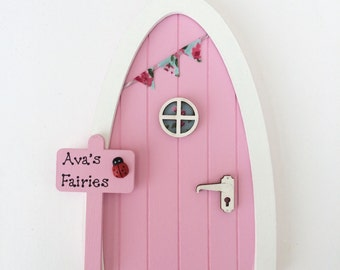 Personalised Fairy Door - Pink - Magical Elf Door, Miniature Wooden Door with Bunting & Personalised Sign, Imaginative Play, Gift for Girls