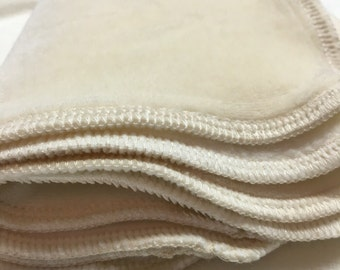 Double Layer Bamboo Velour and Bamboo Fleece Baby Wipes, Sensitive Skin Organic Face Cloths, 7x7 set of 4, Pick the edge color