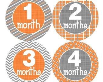 Baby Monthly Stickers FREE Baby Month Milestone Sticker Baby Month Stickers Baby Boy Bodysuit Stickers Photo Props Grey Orange Chevron 087B