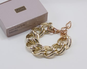 Vintage 1991 Avon Bold Links Goldtone Chunky Double Curb Chain Traditional Preppy Gold Tone Adjustable Length Bracelet in Original Box NIB