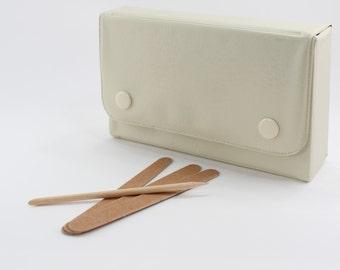 Vintage 1990 Avon Nail Necessities Beige Off White Manicure Case File Cutilcle Pusher in Original Box NIB