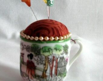 Pincushion - Japanese teacup - upcycled