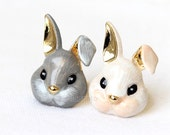 Painted Bunny Ring / big rabbit ring, bunny ring