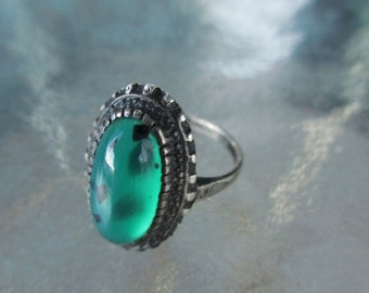 Vintage Antique Sterling Moss Agate Green Stone Ring 7