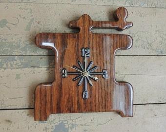 Vintage Wood Kitchen Clock Shaped Like Coffee Grinder  / Hand Made Kitchen Clock / Battery Clock / Vintage Kitchen Clock / Wall Clock