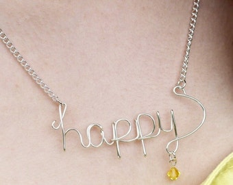 Personalized word necklace - custom necklace - wire wrapped necklace