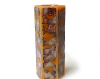 ON SALE Vintage Japanese hexagonal psychedelic orange boxed pillar candle