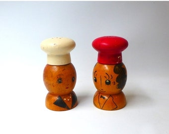 ON SALE Vintage mid century kitsch painted wood chef salt and pepper shakers