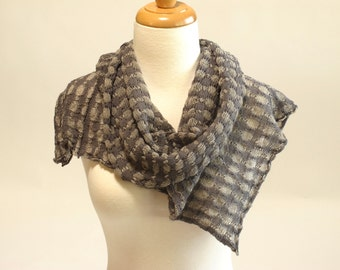 Shawl Scarf, Organic Cotton and Linen, Charcoal Gray