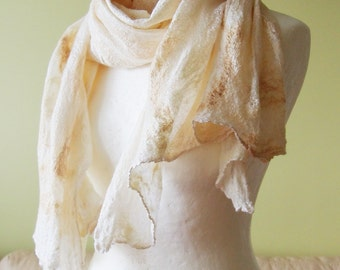 Long golden silk and wool wrap shawl - felted softest wool and silk - for wedding / casual style / for meditation