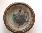 """Mysterious TURTLE Compass """"Type"""" Moving Wiggling Action ~ Vintage Wood Round Folk Toy Prize"""