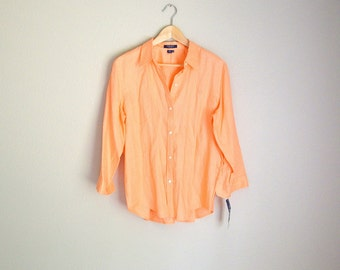 Vintage 90s Chaps RL Bright Peach Linen Blouse // new old stock // womens xlarge