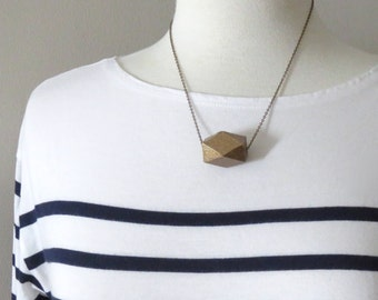 Decatessara - One Polyhedron Metallic Geometric Necklace with Handpainted Wood Pendant and Silver, Gold or Brass Chain by InfinEight