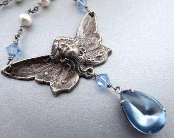 Light blue pendant angel necklace, blue rhinestone, white pearls, angel centerpiece, vintage style, antique silver fairy, pearl jewelry