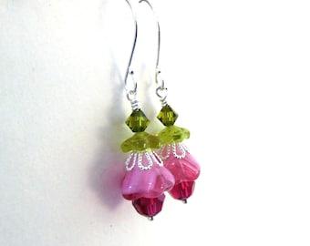 Pink flower bead earrings - Czech glass layered flowers, green pink earrings, Austrian crystal, Spring jewelry, flower jewelry