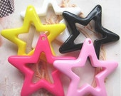 10 pcs of Resin Hollow out Stars Charms Cabochons Flat back Mix 5colors