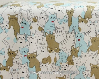 w868_45 - cats fabrics - cotton fabrics -  ( 3 color to choose) in Half Yard