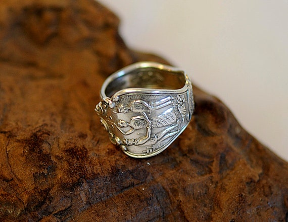 Vintage Sterling Silver Souvenir Spoon Ring.. Oklahoma State.. Size 9.75 (#37)