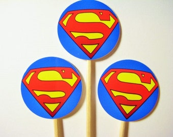 15 Superman Party Picks - Cupcake Toppers - Toothpicks - Food Picks -  FP625