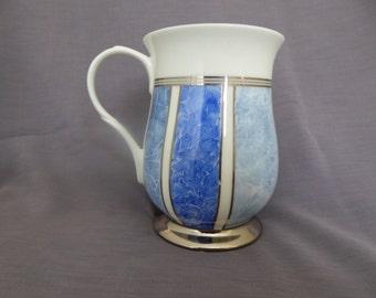 bone china mug, blue mug, hand painted mug,