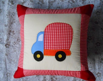 Decorative red truck pillow cover, red car cushion, decorative cushion, kids pillow, baby cushion, nursery cushion, decorative pillow cover