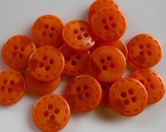 """16 Orange Swirled Dash Rim Round Buttons Size 1/2""""."""