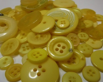 Bright Yellow Buttons, 100 Bulk Assorted Round Multi Size Crafting Sewing Buttons