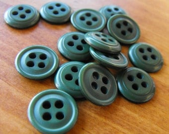 """14 Forest Green Outer Rim Round Buttons Size 1/2"""""""