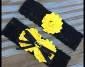 Batman Character Charm Black Lace Yellow Satin Shabby Flower Bridal Satin Wedding Keepsake Or Garter Set