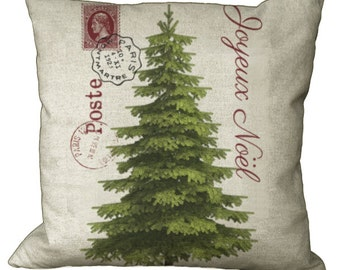 Christmas Tree Postcard in Choice of 14x14 16x16 18x18 20x20 22x22 24x24 26x26 inch Pillow Cover
