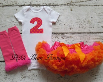 Baby Girl 1st Birthday Outfit - Hot Pink Orange Bodysuit Pettiskirt Leg Warmers - Girl First Birthday Outfit - 1st Birthday Girl Outfit