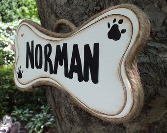 PERSONALIZED DOG BONE  - Country Wood Handmade Shabby Chic Rustic Primitive Dog Bone Sign Plaque