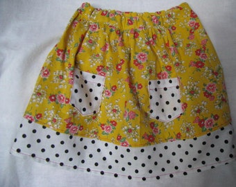 Pink Flowers on Yellow with Polka Dots Skirt Size 2T
