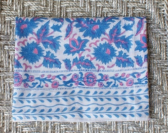 Indian Hand Block Printed Organic Big Scarf, Table Cloth, Picnic Blanket, Sarong, Shawl, Bed Throw, Summer Blanket Blue and Pink Flowers
