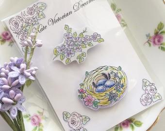 Two Magnets, Bird Nest, Flower Spray, Garden, Spring, Cottage Chic, Art, illustration, Watercolors, Pen and Ink, Cottage Garden