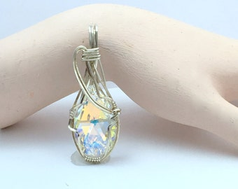 Wire Wrapped Swarovski Crystal Free Form Design In Sterling Silver Wire