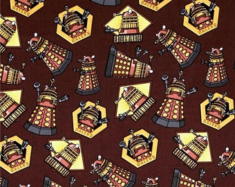 Doctor Who Daleks Exterminate Toss cotton fabric by Springs Creative - police box, dr who, bbc, time machine