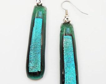 Drop Earrings, Fused Glass Earrings, Dichoic Glass Earrings, Turquoise & Green Earrings