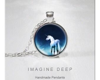 BUY 2 GET 1 FREE Unicorn Pendant Necklace White Unicorn Blue Moon High Quality Handmade Silver Copper Pendant -  Unicorn Moon (079)