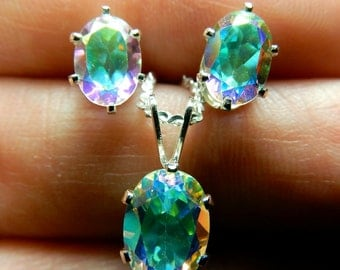 Opalescent topaz earrings and necklace set in sterling silver