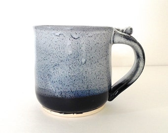 22 ounce Coffee Mug, Handmade Wheel Thrown Ceramic Stoneware, Black and white frost by RiverStone Pottery