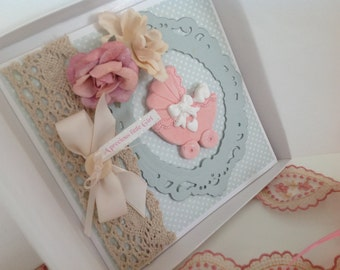 New Baby Card Vintage/Handmade/Luxury/Personalised/ complete with presentation box
