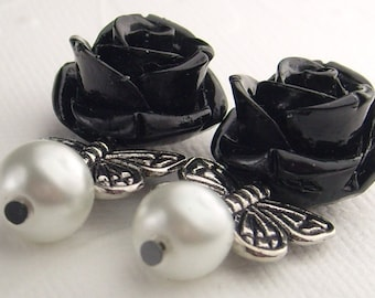 Black Rose Butterfly Earrings