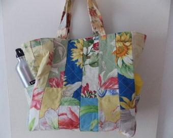 Sunflower Quilt Beach Bag