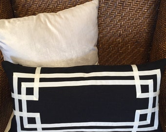 "Greek Key Double Fretwork Black Linen with Off White-  12"" x 24"" lumbar Pillow Cover"