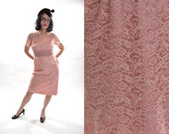 Vintage 1950s Pink Lace Dress - Blush Bridesmaid - Wedding Bridal Fashions